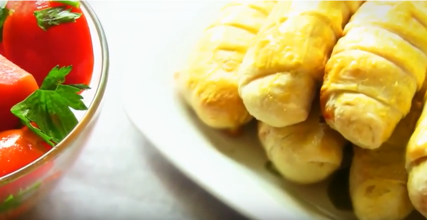 Salchichas con queso de hojaldre